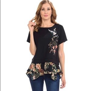 🌿New! Anthropologie W5 Black Floral Top L